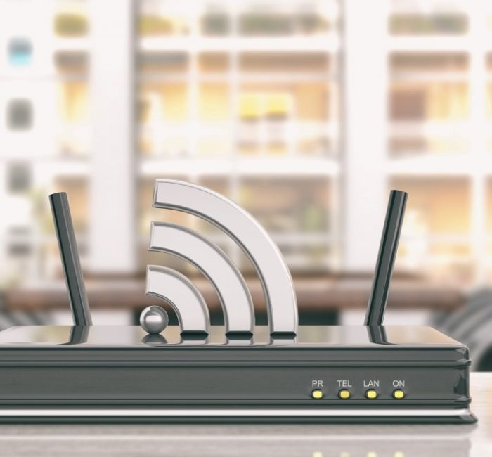 Black wifi router in an office background. 3d illustration